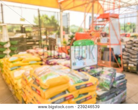 Blurred Garden Soil, Tool And Equipment At Retail Store In Usa