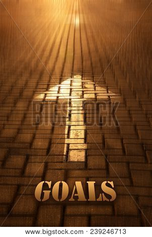Goals Concept With Arrow. Goals Word Written On Road At The Sunset. Forward To Infinity. Conceptual