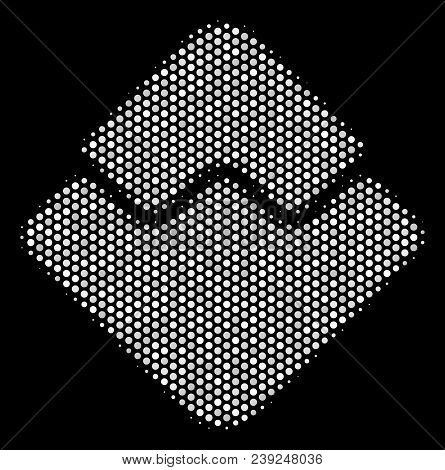 Dotted White Waves Currency Icon On A Black Background. Vector Halftone Concept Of Waves Currency Sy