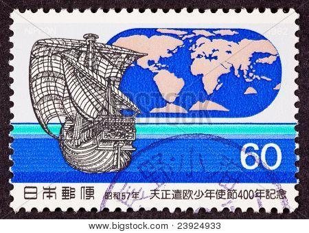 Stamp Tensh? Embassy 1582 Sailing Ship World Map