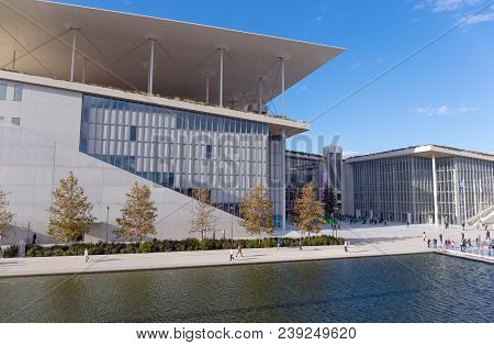 Athens, Greece - December 9: Stavros Niarchos Foundation Cultural Center On December 9, 2017 In Athe