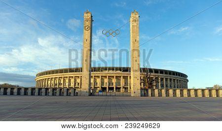 Berlin, Germany - January 1: Olympiastadion On January 1, 2018 In Berlin. Olympiastadion Is A Sports