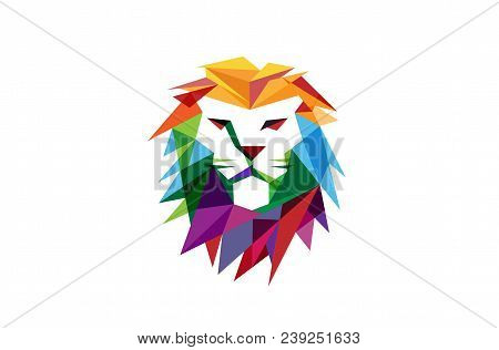 Creative Abstract Colorful Lion Head Logo Design Illustration