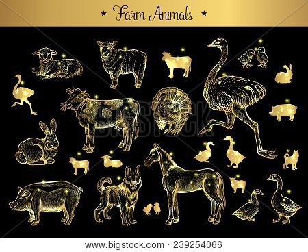 Set Of Isolated Vintage Golden And Royal Sketches Of Farm Animals. Pig Or Swine, Dog And Horse, Hare