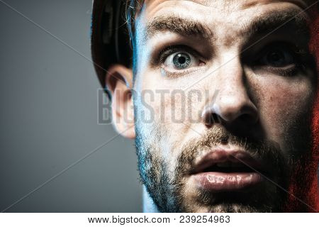 Portrait Of Mechanical Worker. Close Up Engineers Working. Builder In Protective Clothing And Helmet