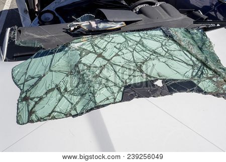 Broken Windshield On The Car After An Accident