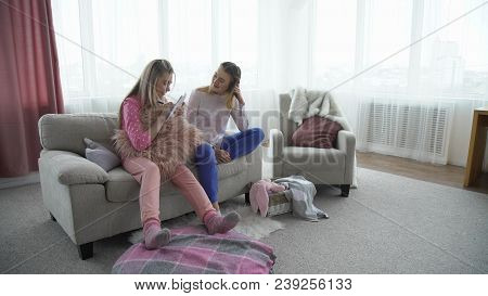 Friendship Bff. Fun Leisure. Friends Communication. Young Teenage Mates At Home Playing Game Writing