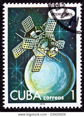 Canceled Cuban Postage Stamp Intercosmos Satellite Orbiting Planet In Space
