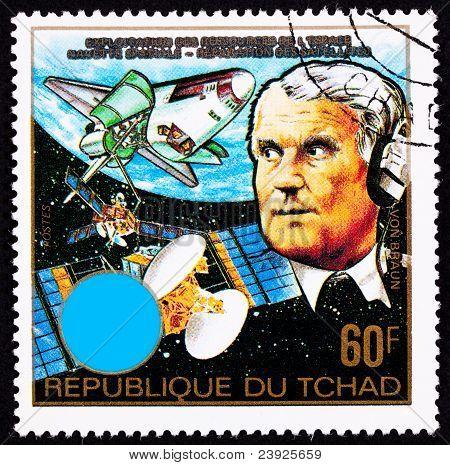Chad Postage Stamp Wernher Von Braun Earth Outer Space Shuttle