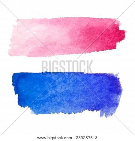 Set Of Abstract Stains. Red And Blue Colors. Bright Creative Horizontal Backdrop. Watercolor Texture