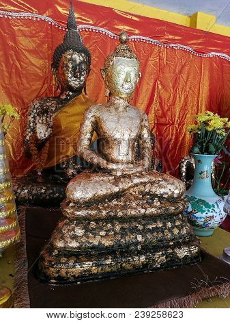 Buddha statue gilded in the temple. thailand poster