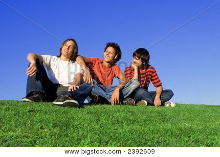 Group Of Happy Boys Chilling Out