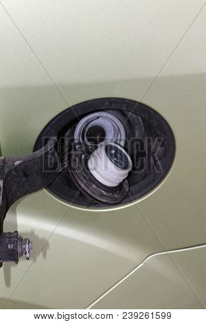 Car Fuel. Car Fuel Filler Cap. Auto Fuel Tank. Opened Automobile Fuel Tank. Energy Concept.