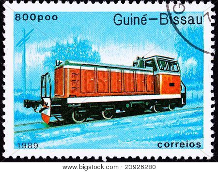 Canceled Guinea-bissau Train Postage Stamp Red Railroad Diesel Engine Locomotive