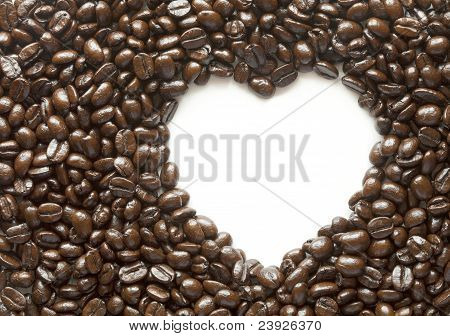 Coffee Beans With Space In Heart Shape