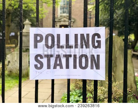 Polling station sign outside a polling station