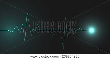Abstract Cardiogram On Dark Background. Vector Banner Design.