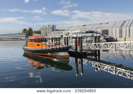 Hobart, Tasmania, Australia: March 28, 2018: Pilot Vessel Docked In Hobart Port Which Is Used To Tra