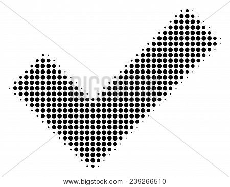 Pixelated Black Yes Icon. Vector Halftone Composition Of Yes Symbol Combined Of Spheric Points.