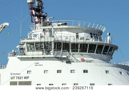New Bedford, Massachusetts, Usa - April 26, 2018: Superstructure Of Geotechnical Drilling Vessel Din