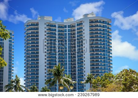 A Modern Condo Building on the Intracoastal Waterway in Fort Lauderdale, Florida poster