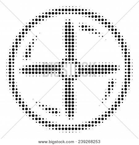 Pixel Black Drone Screw Rotation Icon. Vector Halftone Mosaic Of Drone Screw Rotation Symbol Done Of