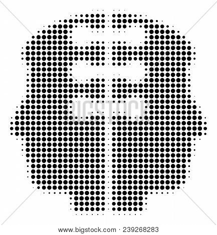 Dot Black Dual Head Interface Icon. Vector Halftone Mosaic Of Dual Head Interface Icon Made From Sph
