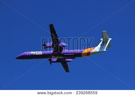 Amsterdam The Netherlands - May 3rd 2018: G-jecz Flybe De Havilland Canada Dhc-8-400 Takeoff From Po