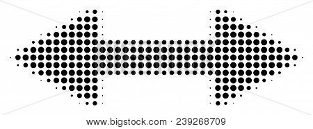 Dot Black Exchange Arrows Icon. Vector Halftone Composition Of Exchange Arrows Symbol Constructed Fr