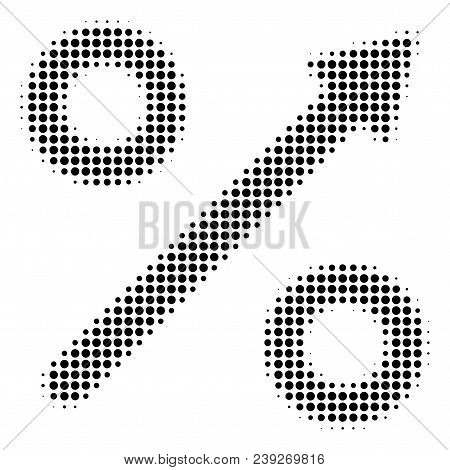 Dotted Black Growing Percent Icon. Vector Halftone Collage Of Growing Percent Symbol Done Of Round P