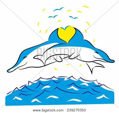Illustration Of Dolphins And Love  Two Dolphins With One Heart In The Ocean Love Concept Ocean Lands