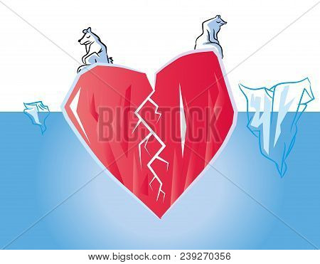 Unhappy Broken Heart In Poles (love Concept) Symbolized Heart Iceberg In Ocean With Polar Bears.