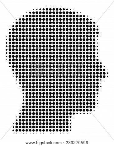 Dot Black Man Head Profile Icon. Vector Halftone Mosaic Of Man Head Profile Symbol Done From Round D