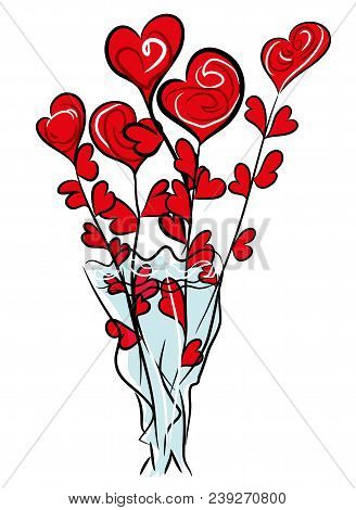 Roses And Hearts Illustration Sketch A Bouquet Roses Symbolized With Red Hearts Roses With White Bac