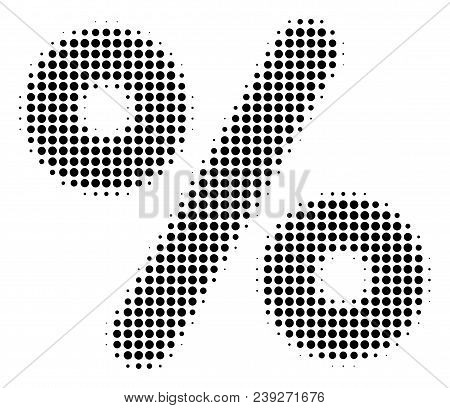 Pixel Black Percent Icon. Vector Halftone Composition Of Percent Pictogram Created With Circle Items