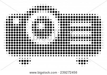 Dot Black Projector Icon. Vector Halftone Mosaic Of Projector Icon Organized From Round Items.