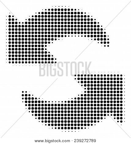 Dotted Black Refresh Icon. Vector Halftone Concept Of Refresh Symbol Done From Spheric Elements.