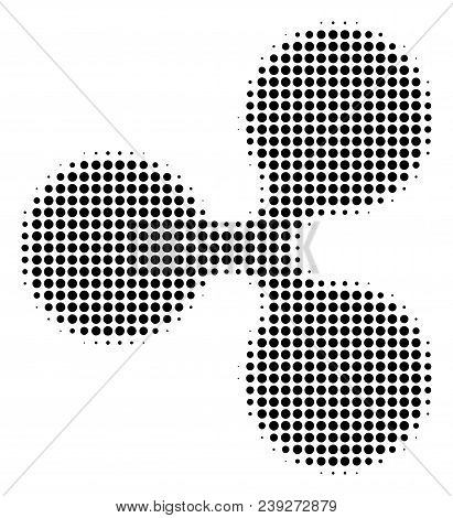 Pixel Black Ripple Currency Icon. Vector Halftone Collage Of Ripple Currency Pictogram Composed With