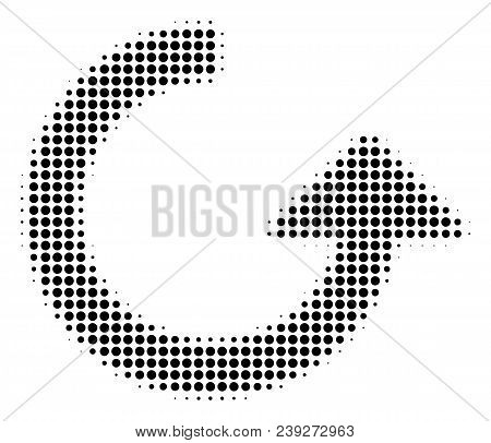 Pixel Black Rotate Icon. Vector Halftone Concept Of Rotate Pictogram Made Of Circle Points.