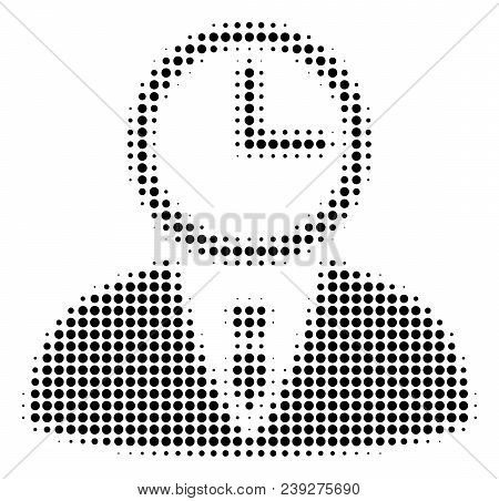 Dot Black Time Manager Icon. Vector Halftone Concept Of Time Manager Pictogram Organized Of Circle D