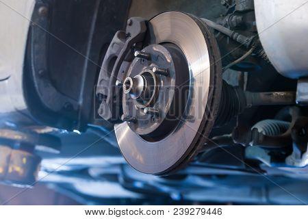 Car Brake Disc Without Wheels Closeup Photo