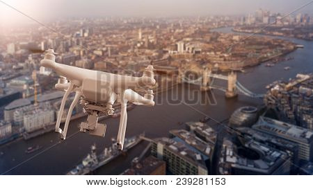 multicopter drone flying over the cityscape of London, England, United Kingdom