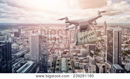 multicopter drone with package flying over the city of Frankfurt am Main, Germany