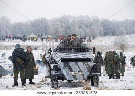 Leningrad Region, Russia - January 14, 2018: Participants In The Military Historical Festival