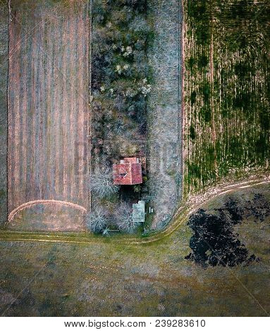 Lonely Farm House With Arable Land Aerial Photo