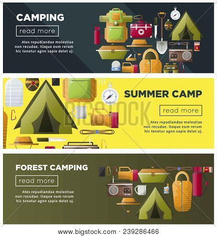 Summer Camp Web Banners For Scout Camping And Hiking Travel Adventure. Vector Camp Tent And Sleeping