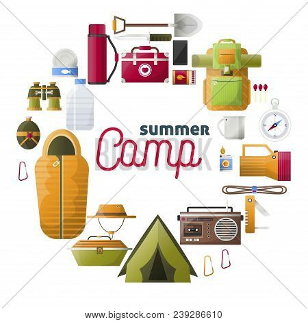 Summer Camp Poster Of Forest And Hiking Camping Tools. Vector Camping Adventure Rope For Mountaineer