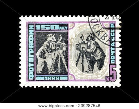 Soviet Union - Circa 1989 : Cancelled Postage Stamp Printed By Soviet Union, That Shows Photographer