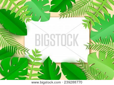 Jungle Leaves In Art Paper Style With White Sheet With Place For Promotoin Text. Spa Salon Card Temp