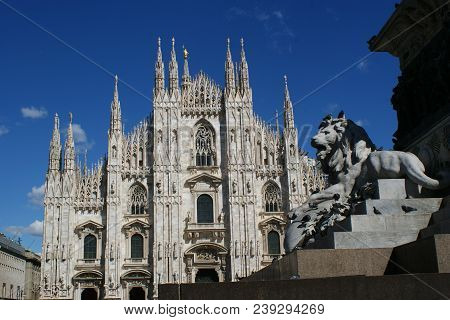 Milan, Italy - April 28, 2017. The Famous Cathedral Of Milan Called The
